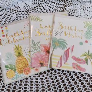 3 Tropical Theme Greeting Cards & Envelopes